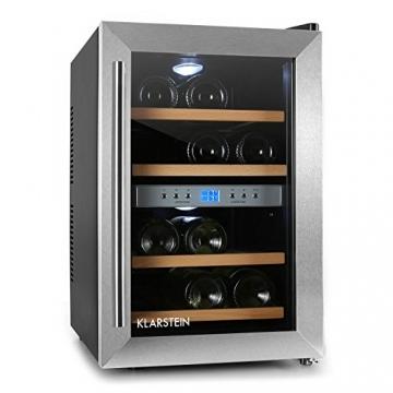 Elegant Klarstein Weinkühlschrank Klein 2 Zonen Getränkekühlschrank Mit Glastür Für  12 Flaschen Wein (34 Liter,