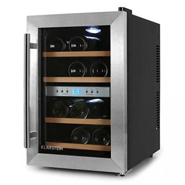 Klarstein Weinkühlschrank klein 2 Zonen Getränkekühlschrank mit Glastür für 12 Flaschen Wein (34 Liter, LED Bedienoberfläche, EEK B, 2 Kühlzonen, Edelstahl) schwarz-silber -