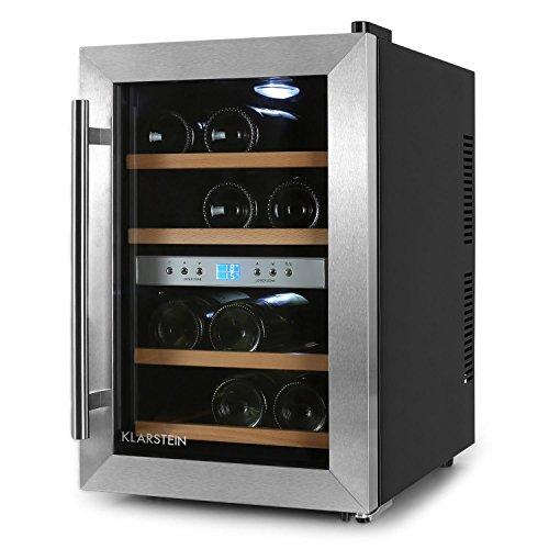 Klarstein Weinkühlschrank Klein 2 Zonen Getränkekühlschrank Mit Glastür Für  12 Flaschen Wein (34 Liter,