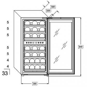 Kalamera KRC-33BSS Design Weinkühlschrank für bis zu 33 Flaschen (bis zu 310 mm Höhe), Zweizonen Weintemperierschrank mit Kompressor,5-10°C/10-18°C,(100 Liter, LED Bedienoberfläche, Edelstahl Glastür) -