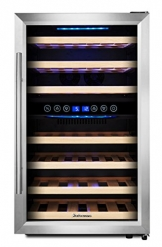 KRC-45BSS Kompressor Weinkühlschrank, 120 Liter, 45 Flaschen (bis zu 310 mm Höhe), 2 Zonen 5-10°C/10-18°C, 7 Holz-Einschübe, LED-Display, Edelstahl Glastür - 1